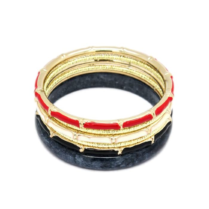 BANGLE SET (6 Pieces) - Womens Stackable Coated Resin, Plastic & Metal Bangle / Bracelet Set - Multicolor