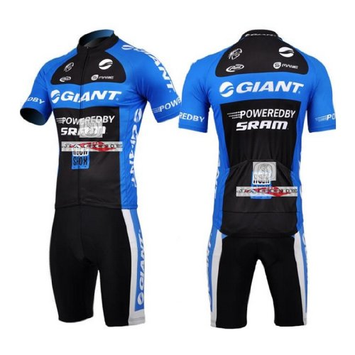 GIANT Blue Short Sleeve Cycling Jerseys Wear Clothes Bicycle/ Bike/ Riding Jerseys + Bib Pants Shorts Size L