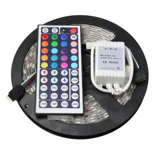 Sunsbell Smd 5050 Led Rgb Strip Light Flexible Waterproof Lamp Kit 300 Leds16.4Ft 5M + 44Key Ir Remote Controller