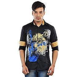 CREEDS Men's Black Cotton Casual Shirt(Medium)