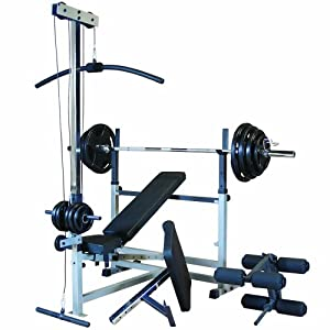 Body Solid Gdib46lp5 Combo Bench Package With Rubber Grip Weights Adjustable
