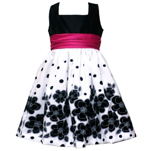 Size-4T RRE-47331F BLACK WHITE PINK GLITTER FLOCK FLORAL BORDER Special Occasion Wedding Flower Girl Party Dress,F247331 Rare Editions TODDLERS