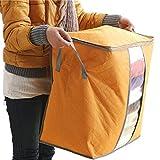 Sunward Hot Sale Storage Box Portable Organizer Non Woven Clothing Pouch Holder Blanket Pillow Underbed Storage Bag Box (Orange)