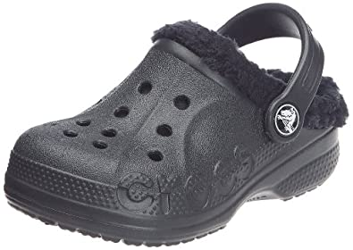 Crocs Kids Unisex Baya Lined Kids (Toddler/Little Kid) Black/Black Clog/Mule 12-13 Little Kid M