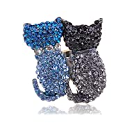 Cat Couple Swarovski Rhinestone Blue Black Adjustable Ring