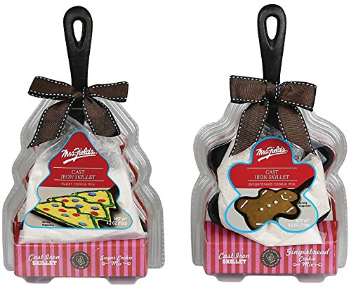 Set of Two Mrs. Fields Shaped Cookie Cast Iron Skillets with (1) Sugar Cookie Mix and (1) Gingerbread Cookie Mix (Mrs Fields Cookie Mix compare prices)