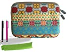 ColorYourLife Bundle of Bohemian Style Canvas Fabric Sleeve Case Bag Cover for Kindle Fire HD HDX 7 inch iPad mini with 2 Stylus Pens and Microfiber Cleaning Cloths (Colorful Bohemian pattern, 8 inch)