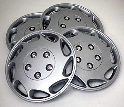 TuningPros WSC-807S15 Hubcaps Wheel Skin Cover 15-Inches Silver Set of 4