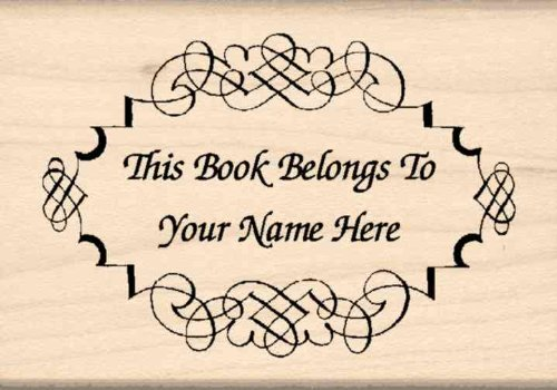 Custom Made & Personalized - This Book Belongs To: Bookplate Rubber Stamp - 1-3/4 inches x 2-1/2 inches (Custom Bookplates compare prices)