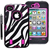 Armored CoreTM Zebra Defender Case for IPhone 4/4S White/Black with Hot Pink Shell