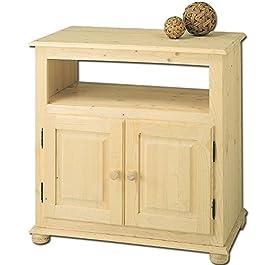 Mobile porta tv country artigianale legno massello in abete 80x46x80 cm