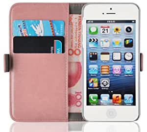 iPhone 5 Case - Luxury Edition Leather Wallet Cover for iPhone 5 5s, Peach Pink