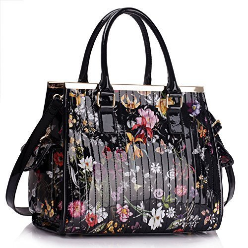 Womens Designer Handbag Floral Ladies Tote Bag Fashion Faux Leather Patent Shoulder