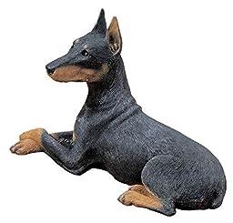 Sandicast Original Size Black Doberman Pinscher Sculpture, Lying