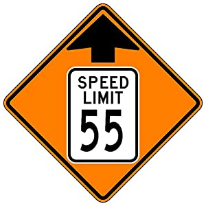 MUTCD W3-5 Orange Speed Limit 55 Reduced Speed Limit Sign, 3M Reflective Sheeting, Highest Gauge Aluminum,Laminated, UV Protected, Made in U.S.A