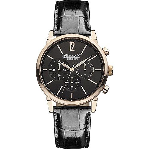Ingersoll INQ 016 BKRS - Reloj para hombres, correa de cuero color negro