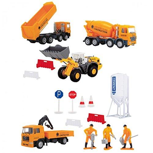 DICKIE-Construction-Playset-Baustelle-LKW-Lastwagen-Bagger-Radlader-Absperrung-Betonmischer-NEU