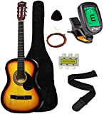 "Crescent MG38-SB 38"" Acoustic Guitar Starter Package, Sunburst (Includes CrescentTM Digital E-Tuner)"