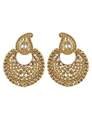 Muchmore Royal Look Style Gold Plated Polki Earrings For Women's Wedding Jewelry