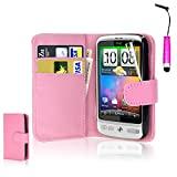 CellDeal Flip Wallet Leather Case Cover For HTC Desire C Free Screen Protector + Light Pink