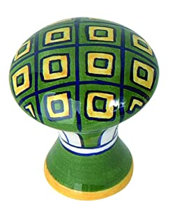 Atlas Homewares 3B100 1-3/4-Inch Green/Yellow Geo Ceramic Knob, Ceramic