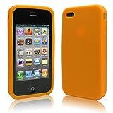 新登場 iPhone 4 ケース シリコン  ライトオレンジ 液晶保護フィルム USB充電ケーブル付  送料無料