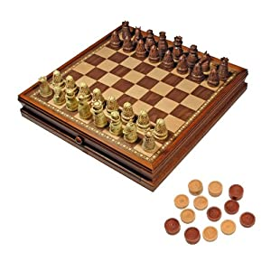Medieval Chess & Checkers Game Set - Brown & Ivory Chessmen & Wood Board with Storage Drawers 15 in.