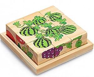 Watermelon Grapes Sechs gemalt neun Holzpuzzle 3D dreidimensionale Bausteine f¨¹r Kinder Kreative Geburtstagsgeschenk Holz Bildungs-Spielzeug f¨¹r Kinder Weihnachten Spielzeug
