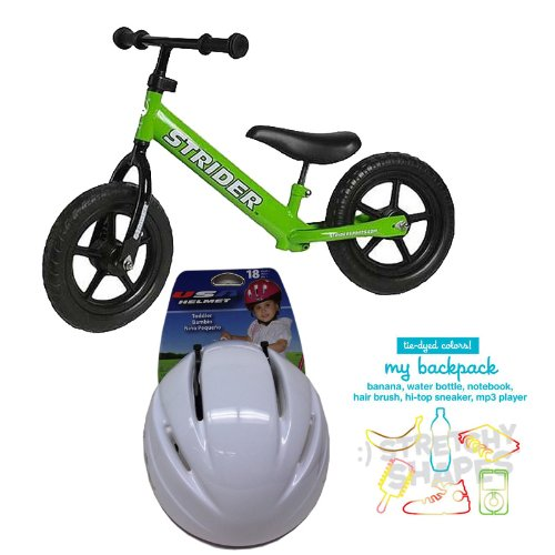 Strider PREbike Balance Running Bike Green with Toddler Size Helmet