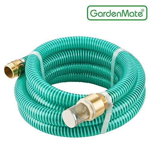 GardenMate® 7m Ansaugschlauch Ø 1 Zoll Messing Verbindung mit Rückschlagventil für Gartenpumpen (7m Länge)
