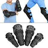 ECLEAR 4 Pcs Elbow Knee Shin Guard Pads Protector Adjustable Flexible Adult Armors Wrist Protective For Motorcycle ATV Motocross Racing Mountain Bike, Black