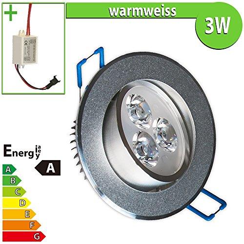 LED Einbaustrahler Einbauleuchte 3 W rund, Einbau Strahler Set Decken Leuchte Lampe Spot, warmweiss 100552