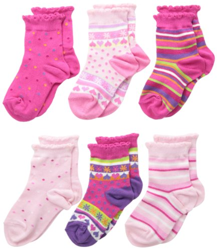 Country Kids Little Girls' Pick-A-Mix Hearts Socks 6 Pair, Pink/Hot Pink, Sock Size 6-7, Shoe Size 6-11