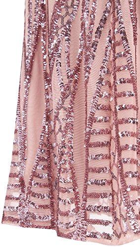 Angel-fashions Women's Notched Strapless Paillette Column Sheath Prom Dress Large