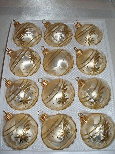 12-tlg-Glas-Weihnachtskugeln-Set-in-Ice-Champagner-Gold-Komet-Christbaumkugeln-Weihnachtsschmuck-Christbaumschmuck