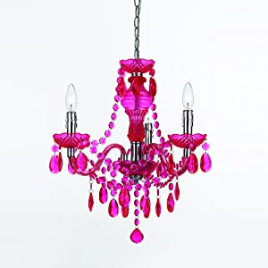 3 Light Mini Chandelier Color: Hot Pink