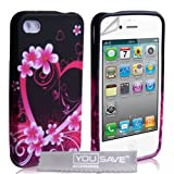 iPhone 4 / 4S Pink Heart Floral Silicone Caseby Yousave Accessories