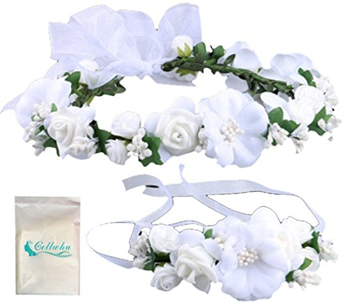 Gellwhu Flower Crown Wedding Hair Wreath Floral Headband Garland Wrist Band Set (White)