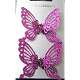Pair of Mini Glitter Butterfy Hair Clamps - Fuchsia