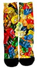 Kalily Custom Lovely Colorful Dri Fit Crew Socks with Designs (Colorful Candy 1)