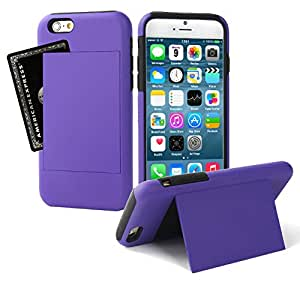 For iPhone 5C Armor Shield Hybrid Dual Layer Card Kickstand Case Cover (PURPLE) by Arcraft