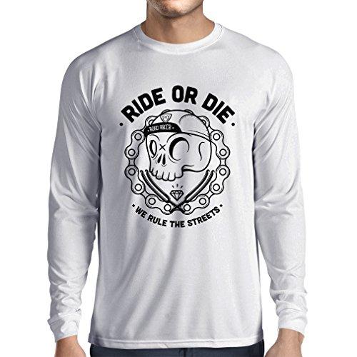 N4611L T-shirt manica lunga da uomo Ride or Die (XXX-Large Bianco Multicolore)