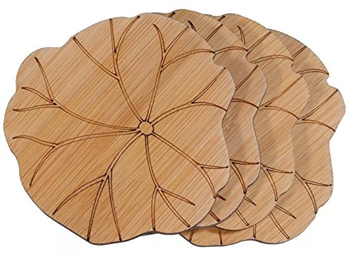 Moyishi Handmade Nature Bamboo Lotus Leaf Boaster Bamboo Coasters Coffee Milk Cup Mats, Set Of 6
