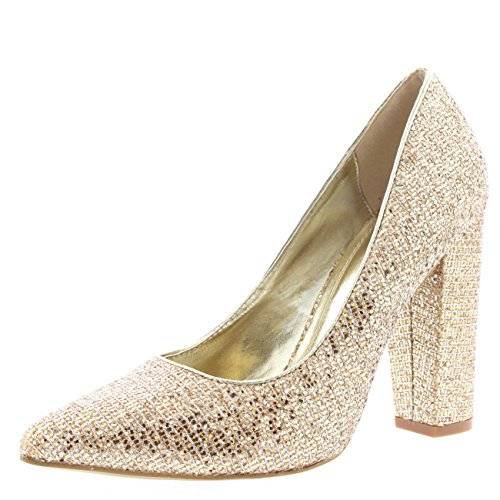 Womens Party Office Shoes Work Pointed Toe Court Shoes Evening Pumps - Gold Glitter - US9/EU40 - KL0113