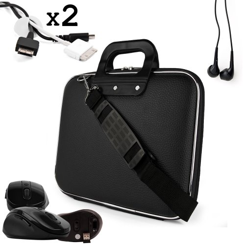 Uniquely designed SumacLife Brand Black Ultra Durable Reinforced 13 Inch Cady Hard Shell Sports Bag for all models of the ASUS VivoBook 14 Inch UltraBook (S400CA-DH51T, PC, Windows 8, 500GB, 14 inch Touch Ultrabook, Black) + 2 Cable Holder Organizers + Earphones + USB Mouse