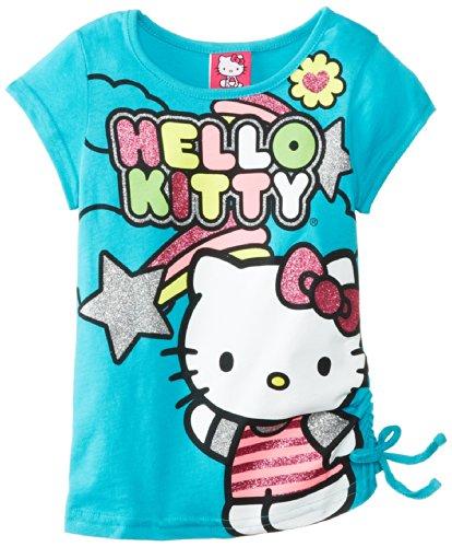 Hello Kitty Little Girls' Short Sleeve Tee Multi Color, Turquoise, 4 front-783597