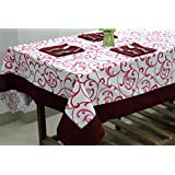 AURAVE Maroon Floral Printed Eight Seater Cotton Table Cover With Napkins