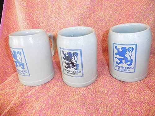 lot-3-vintage-lowenbrau-munich-beer-stein-made-in-germany-stoneware-mug-5-liter