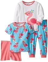 Gerber Baby Girls' 4 Piece Cotton Pajamas