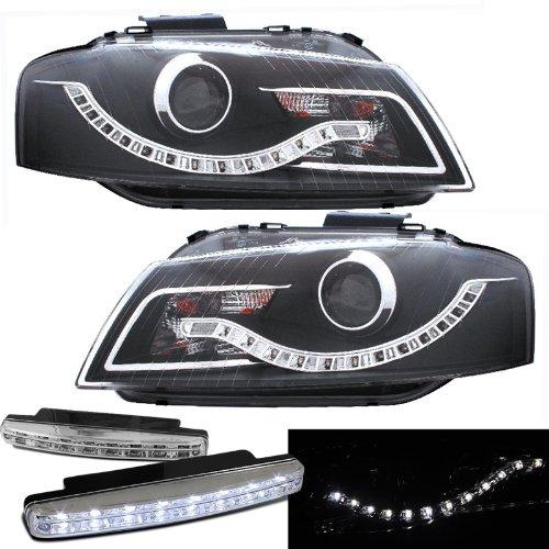 2006-2008 Audi A3 Projector Halogen Type Headlights W/ Led + 8 Led Fog Bumper Light